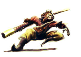 Monkey in Battle by anthonysarts