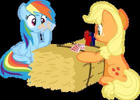 Rainbow Dash and Applejack poker by RichHap
