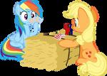 Rainbow Dash and Applejack poker