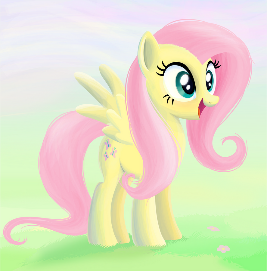 Happy Fluttershy (with background) by tgolyi