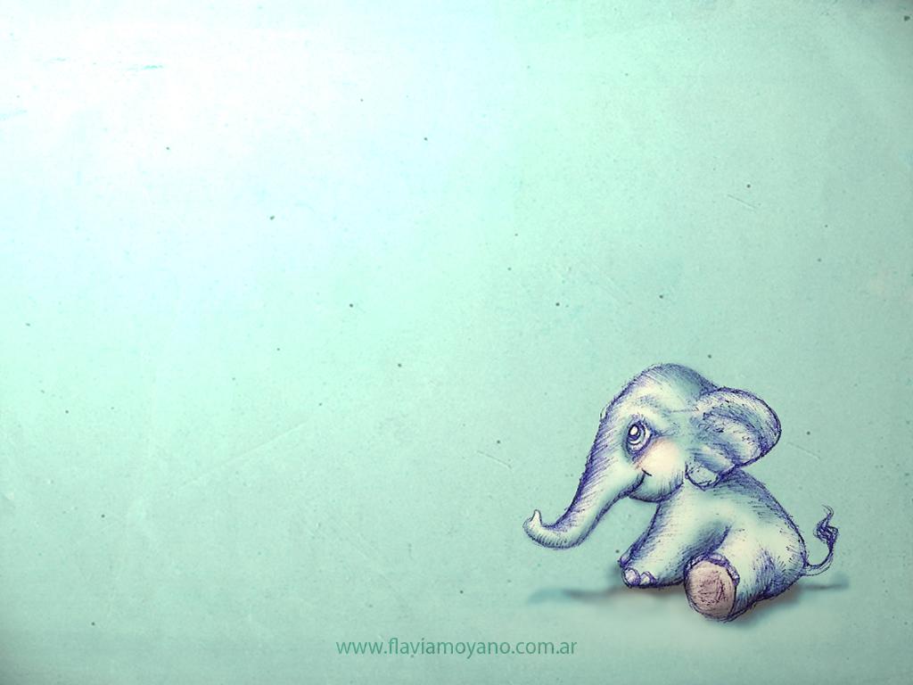 Cute Elephant Drawing Wallpaper