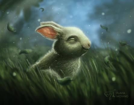 Quiet bunny in the forest