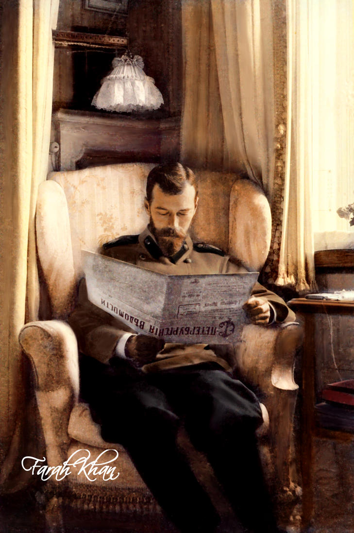 Tsar Nicholas II reading newspaper. by farahkhan
