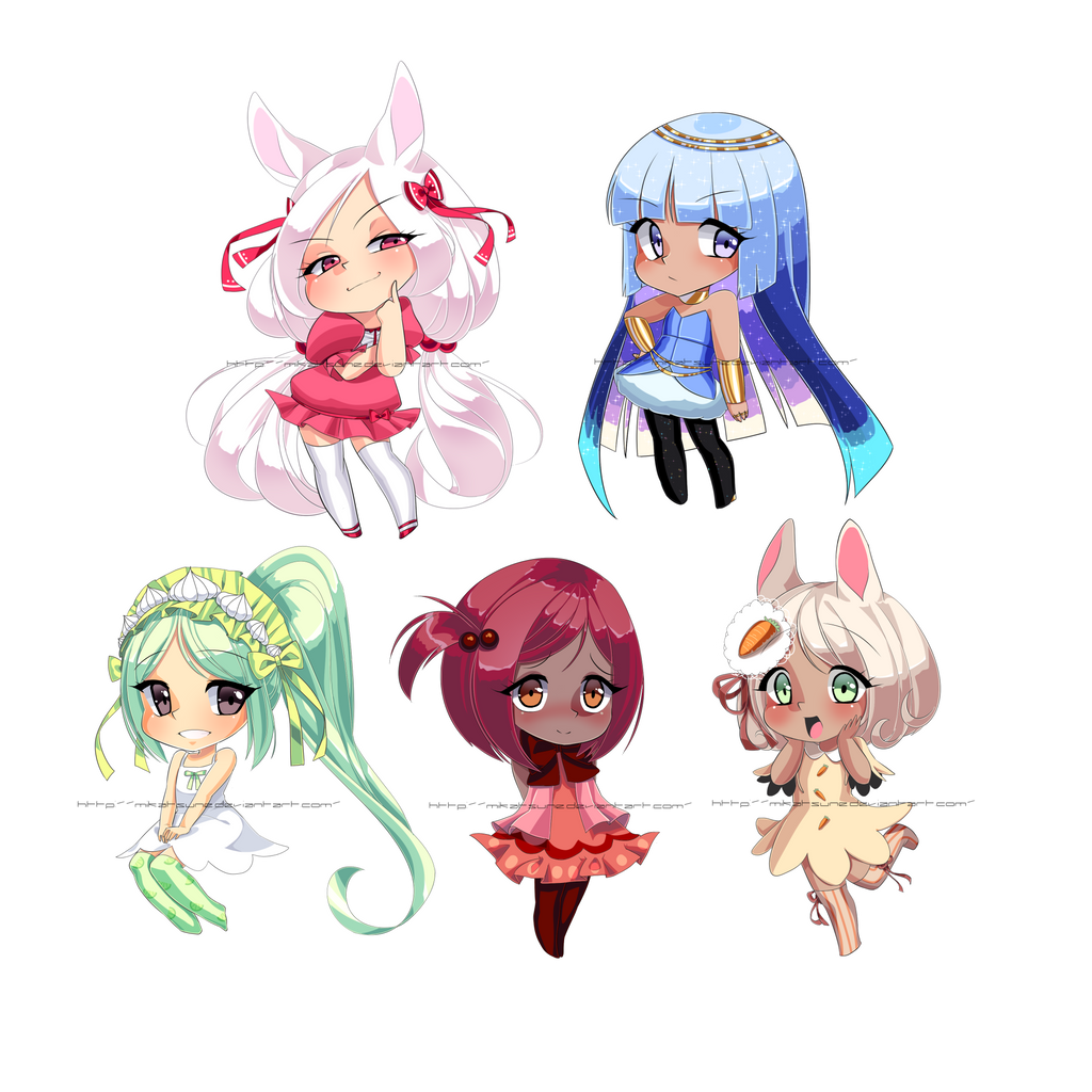 Cell shaded chibis by Mikabunni