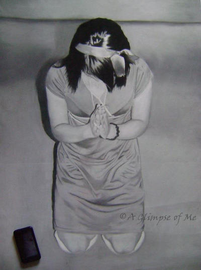 Prayer - Life Sized Drawing by AGlimpseOfMe