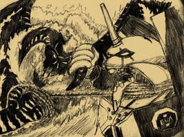 SKETCH JAM  BALROG VS EVA by Luber-Lord
