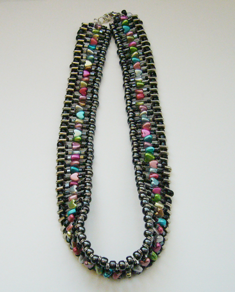 Multicolor safety pin necklace by jessewellery on deviantart for Safety pin and bead crafts