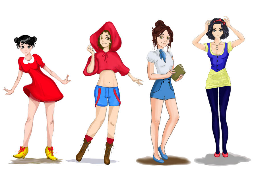 Minnie, Red Riding Hood, Belle, Snow White by CarlaTeresa