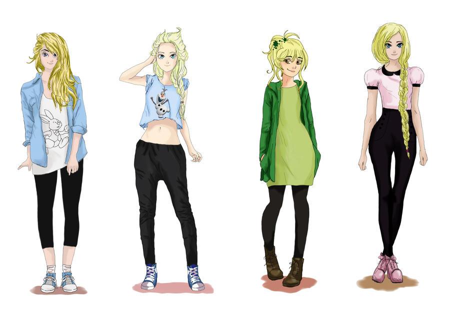 Alice, Elsa, Tinkerbell, Rapunzel by CarlaTeresa