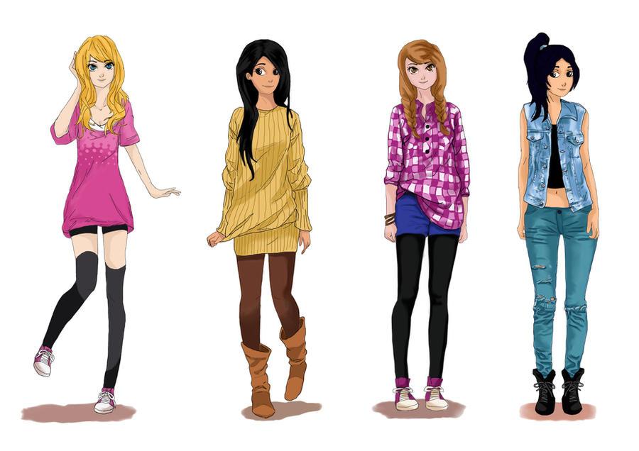 Aurora, Pocahontas, Anna, Jasmine by CarlaTeresa