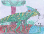 Wild Parasaurolophus Paleo-Art by ProfDanB