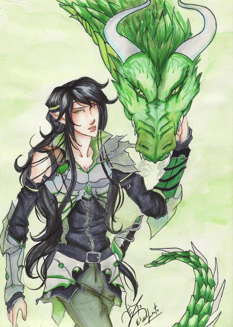 Eragon-Arya y su dragón Finnen