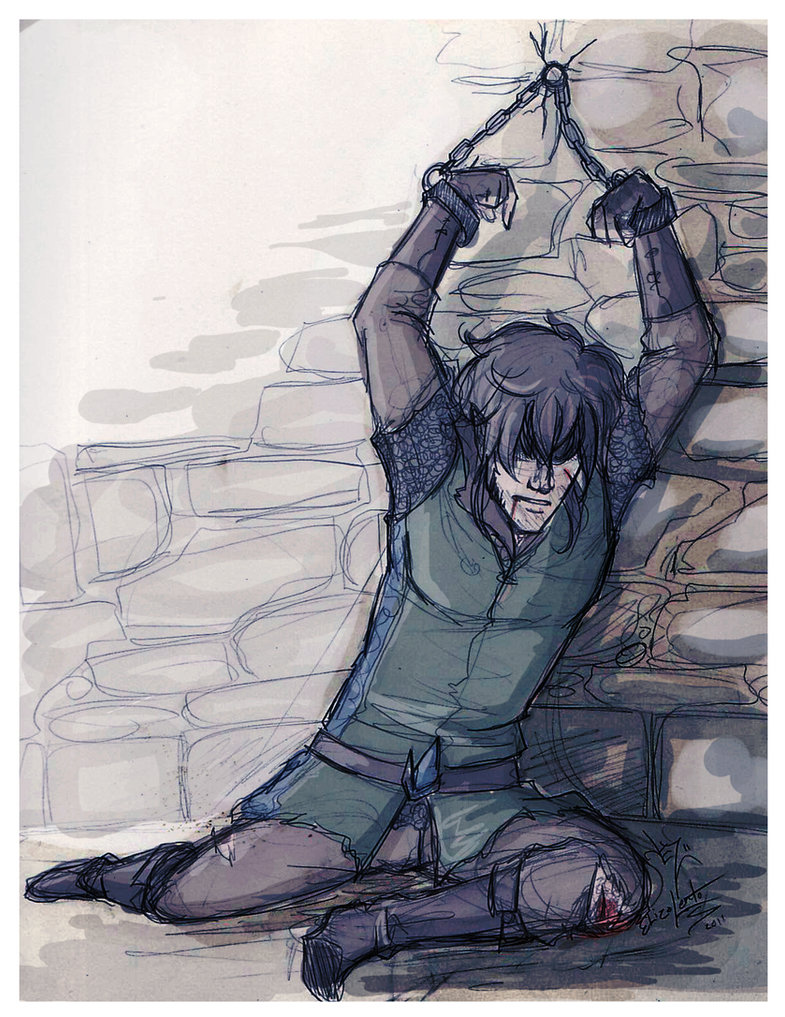 Anime boy chained to a wall
