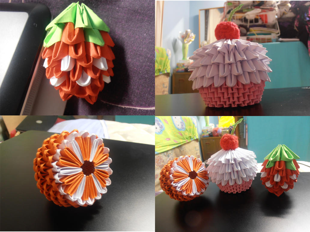 3D Origami Strawberry Orange Cupcake By Dcheeky Angel