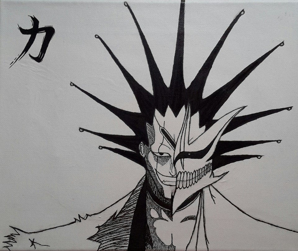 Canvas Of Kenpachi Kanji Symbol For Strength By King Of Carnage On