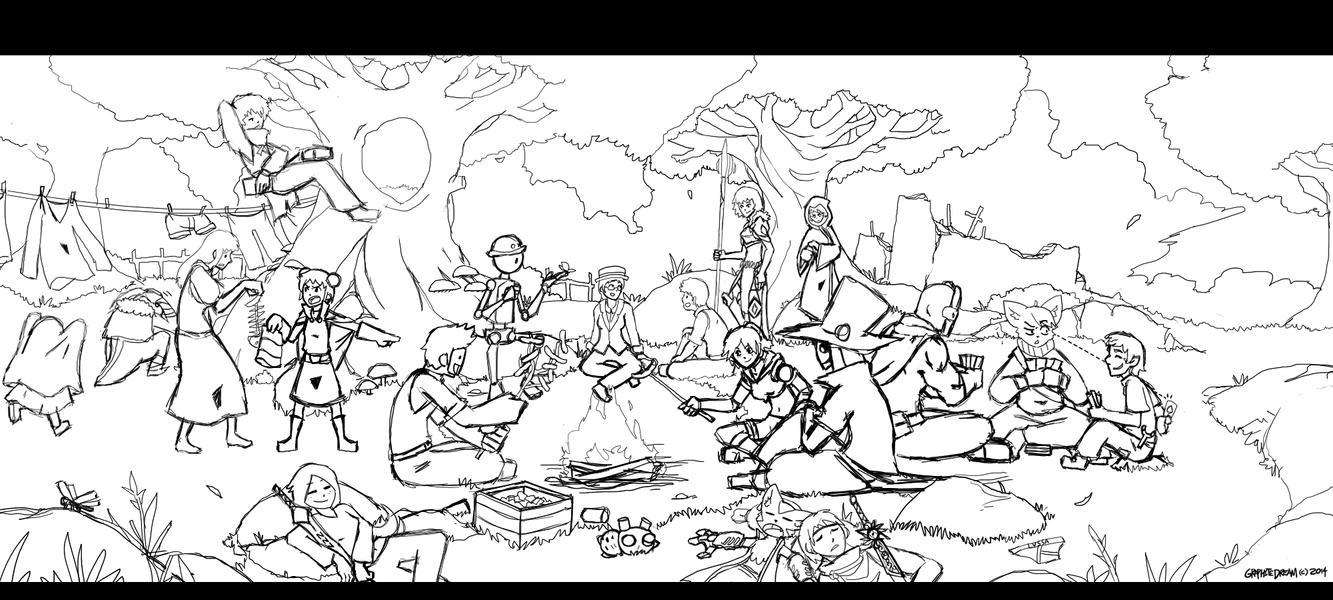 A Brief Respite (Sketch) by GraphiteDream