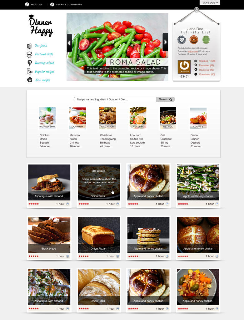 Recipe web site design by thanushka on deviantart for Site cuisine