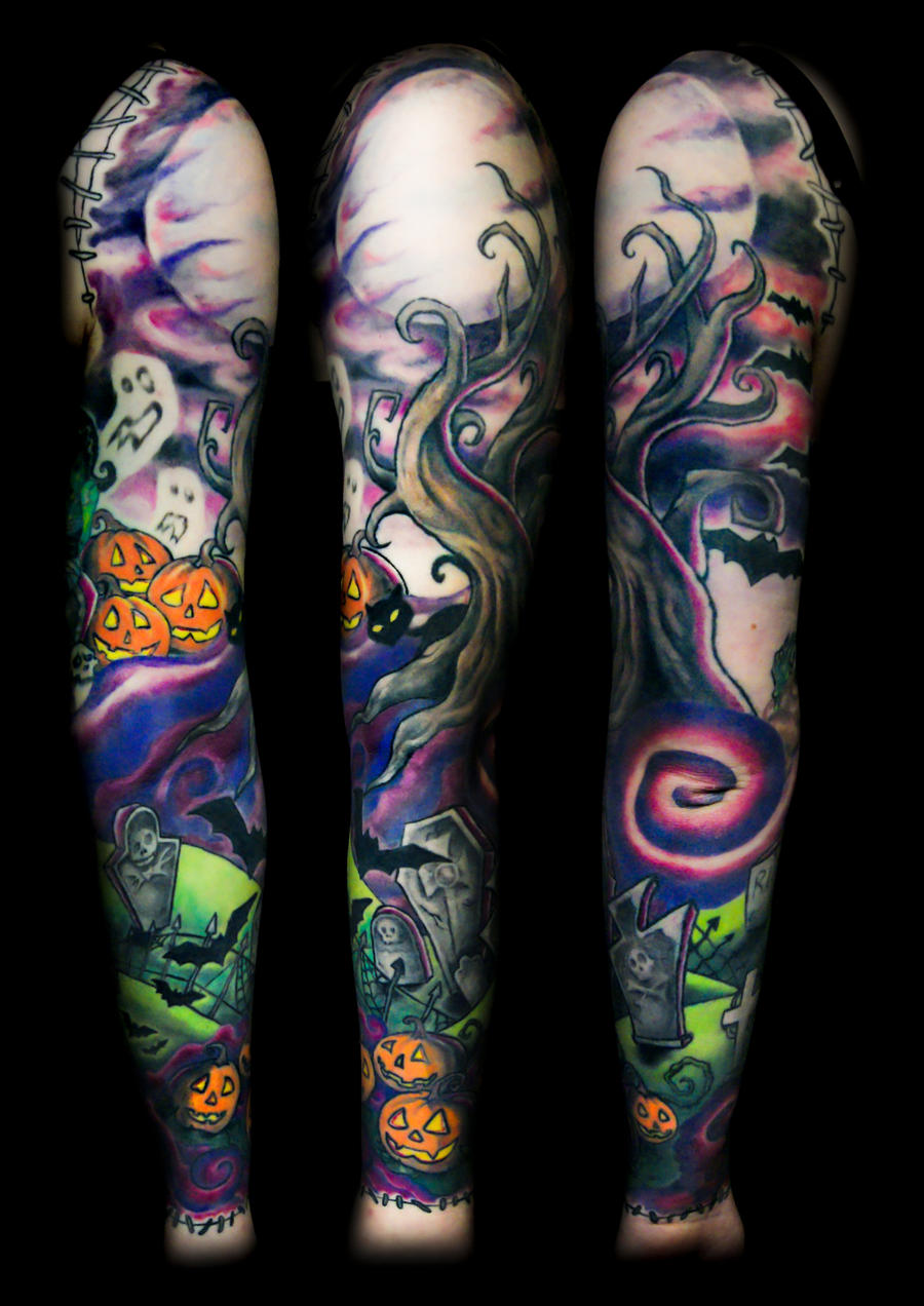 halloween sleeve finished by filthmg on deviantart