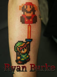 Link and Mario tattoo
