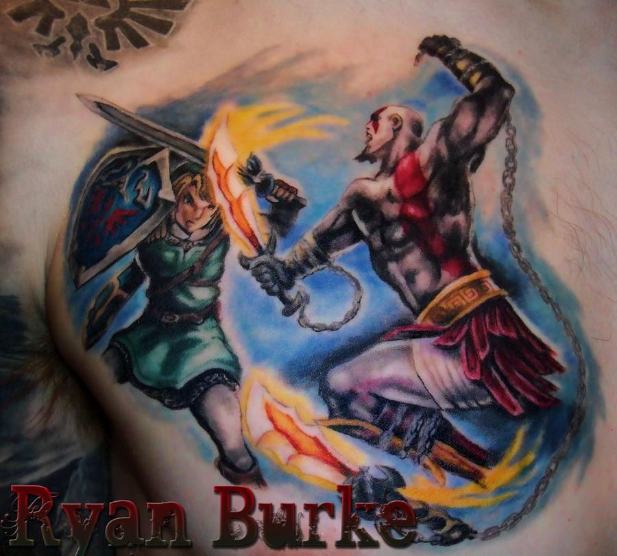 link fighting kratos tattoo by filthmg on deviantart. Black Bedroom Furniture Sets. Home Design Ideas