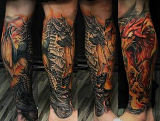 Dragon vs Pheonix Tattoo by filthmg