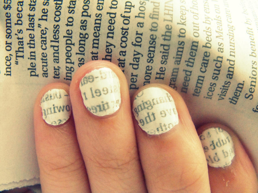 Newspaper Nail Tutorial by JDAGonzalez