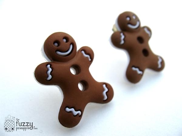 Gingerbread Men Stud Earrings by TheFuzzyPineapple