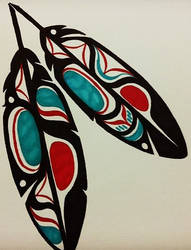 Haida Eagle Feathers - Black by Mammomax7432
