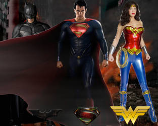 Batman, Superman, and Wonder Woman Wallpaper by nickelbackloverxoxox