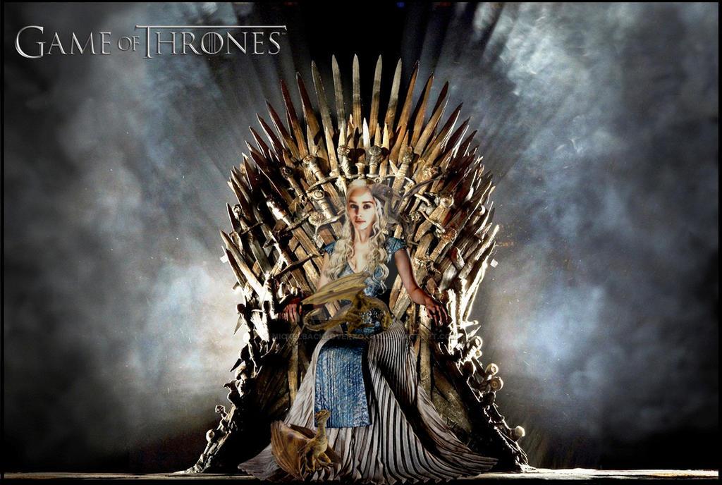 Daenerys Targaryen with Dragons on Iron Throne by ...