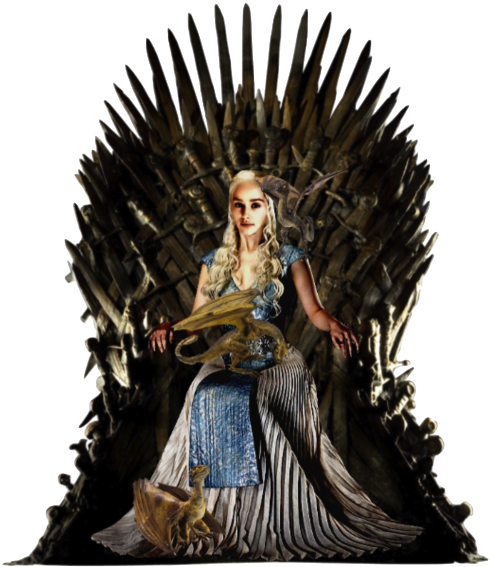 Daenerys on Iron Throne with Dragons PNG by ...