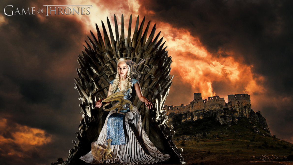 Daenerys Targaryen With Dragons On Iron Throne 2 By