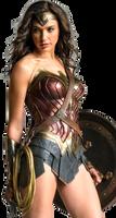 Gal Gadot as Wonder Woman with shield PNG