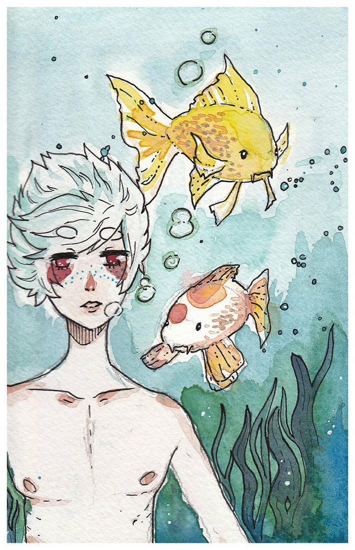 Bipin in a koi fish pond by KatyaHam