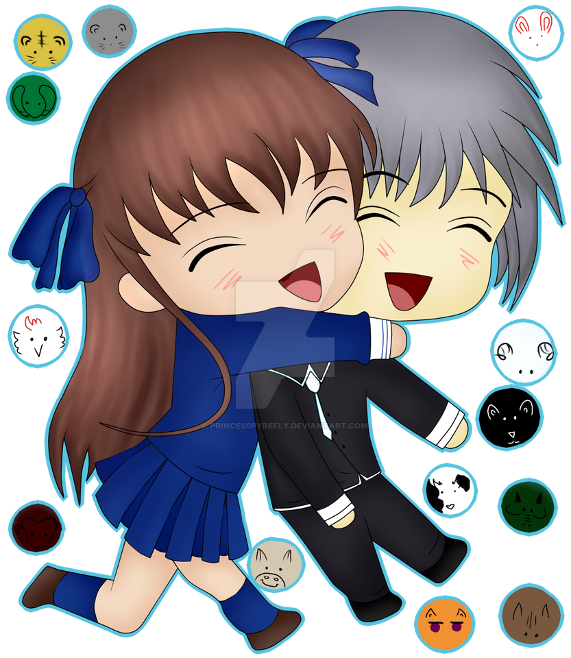 Tohru hugging Yuki - Chibis by PrincessPyrefly