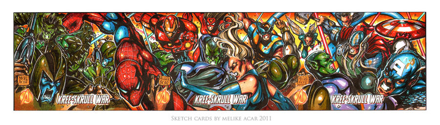 Kree Skrull War trio sketch card by MelikeAcar