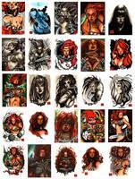 Red Sonja sketch card set by MelikeAcar