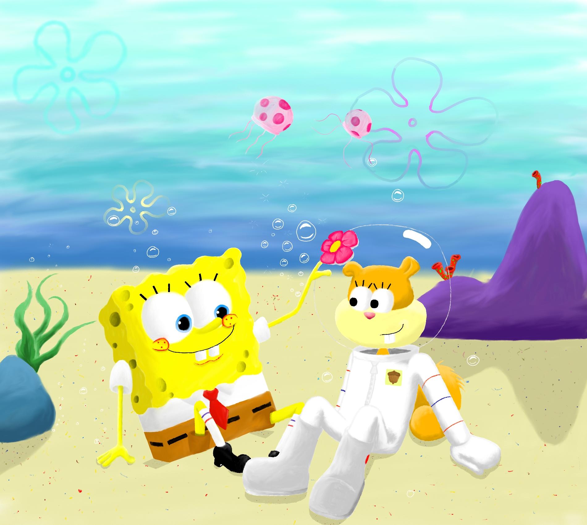 Spongebob and Sandy by Dinoliz on DeviantArt