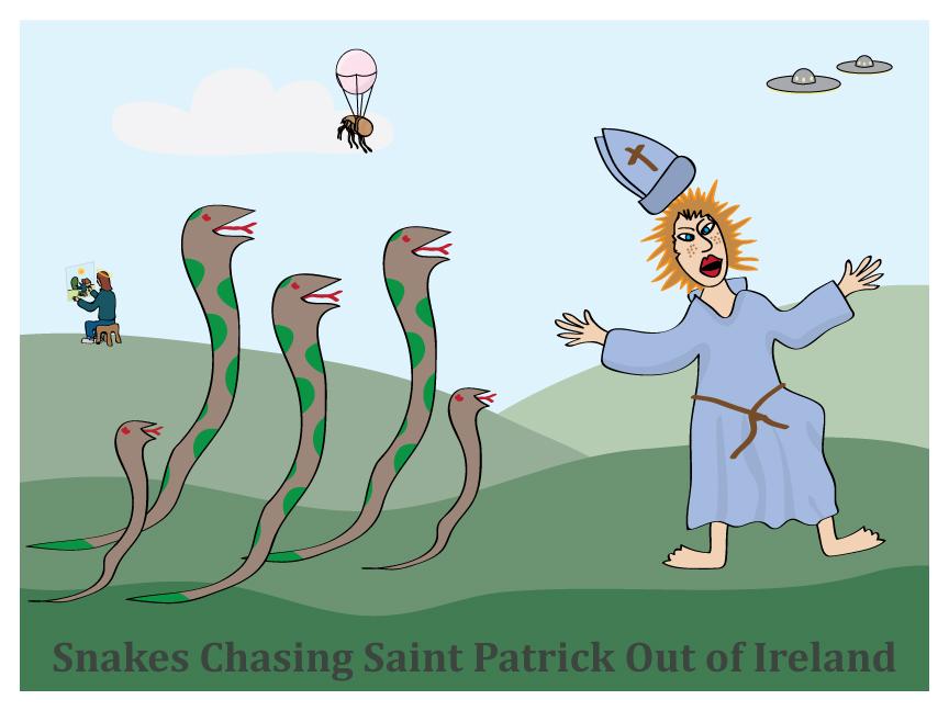 Snakes Chasing Saint Patrick Out of Ireland by vanilla-vanilla on DeviantArt