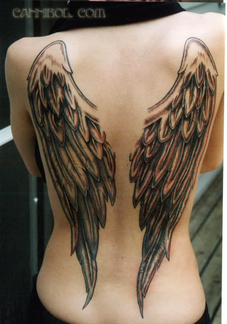 angel wings tattoo by cannibol