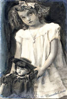 vintage girl with doll by cannibol