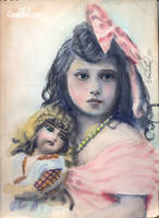 vintage girl with doll and bow by cannibol