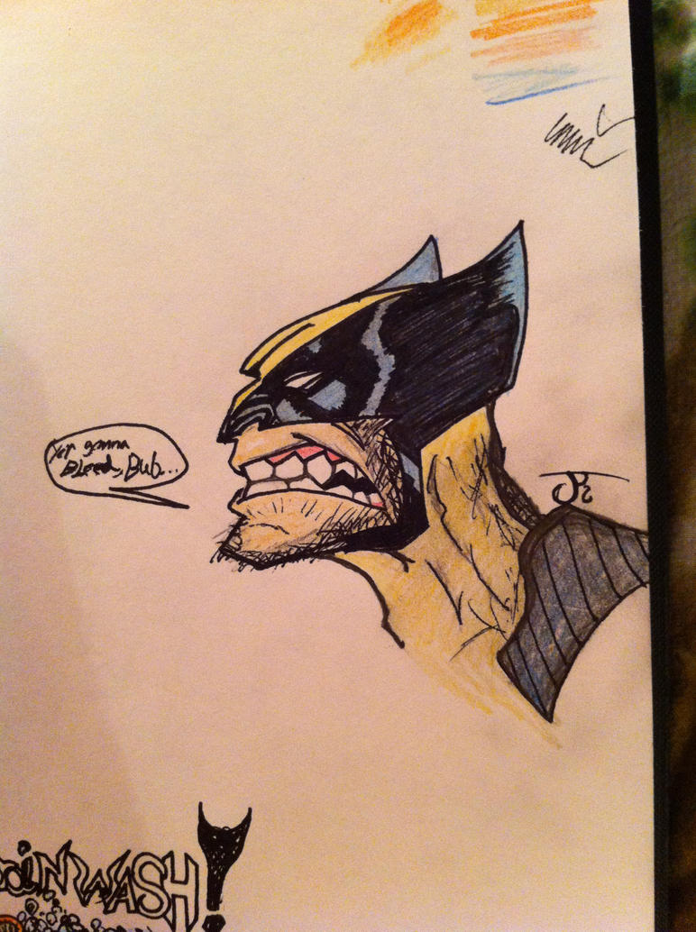 late night Wolvie Doodle Added Color by ComicBookGoth