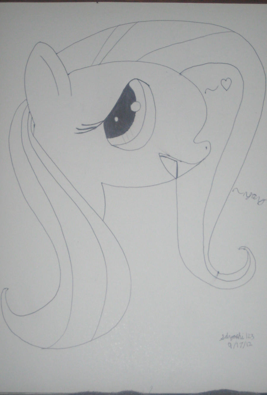 Fluttershy Sketch/ Pen by sdyoshi123