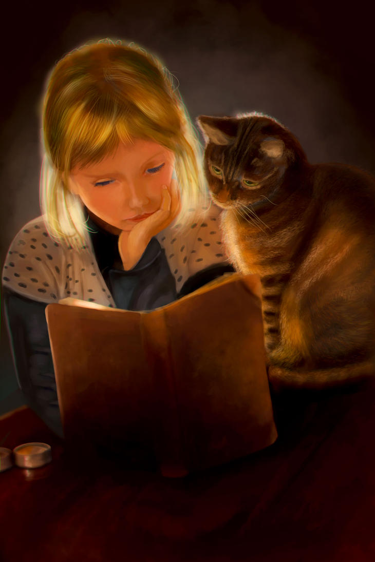 Girl and Cat reading a book by Higeneko9
