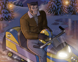 Wolverine on a Snowmobile