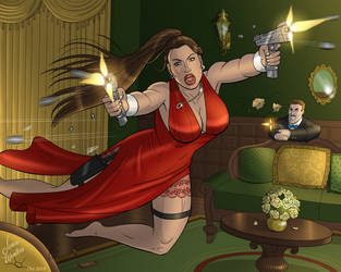Lara Croft in a Sexy Red Dress by JericaWinters