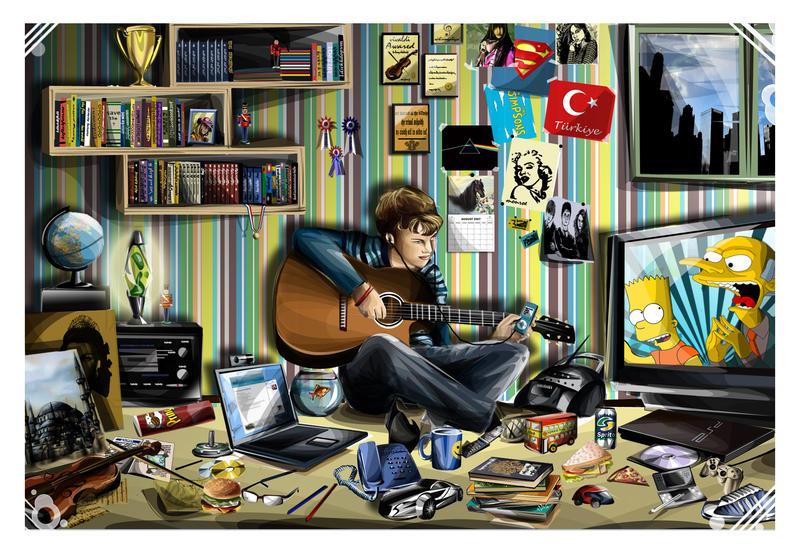 His Messy Room By Artist In Despair