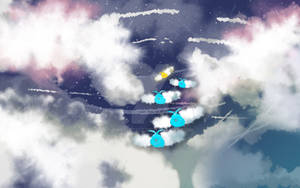 Swablu in the clouds.