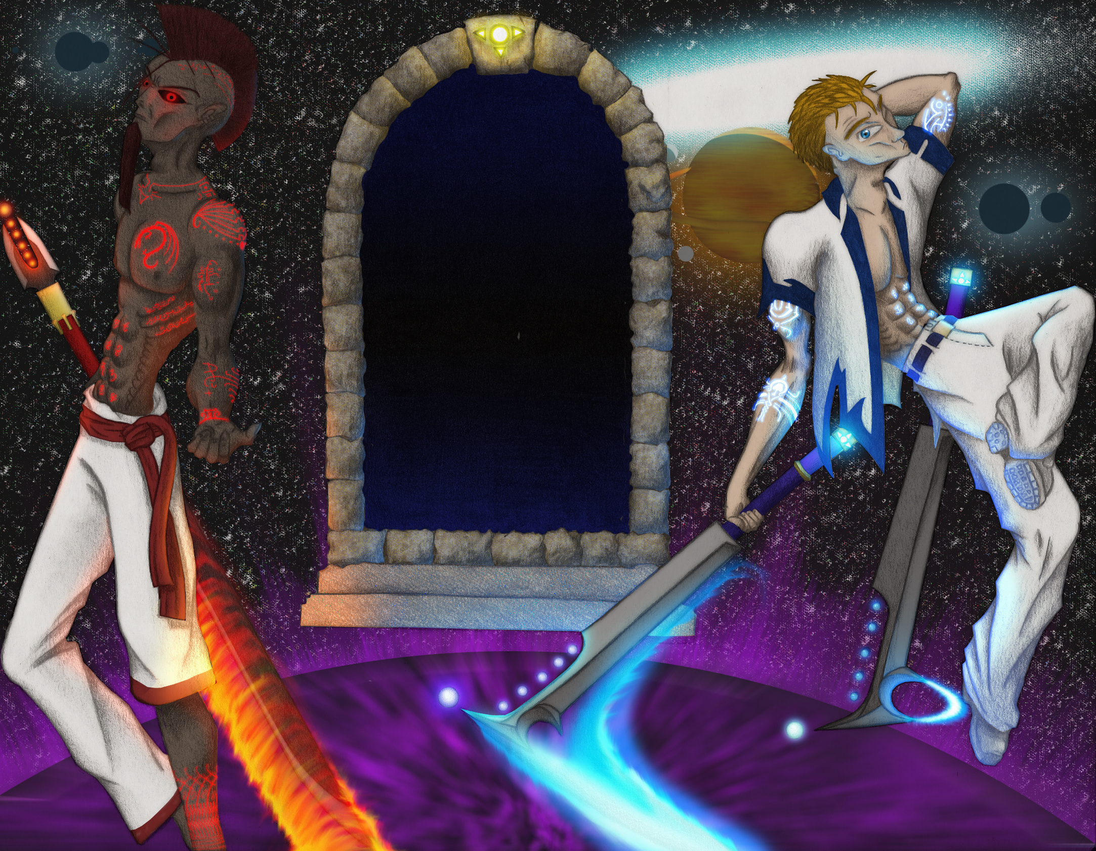 Gate Guardians in color by Ziddius